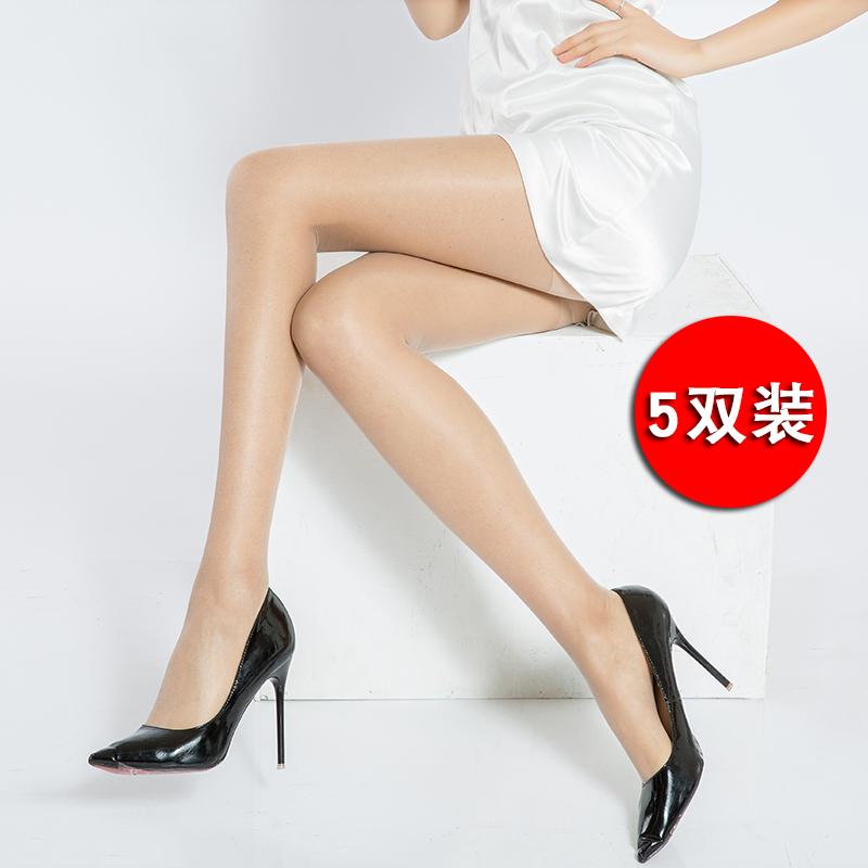 Xian Qiang 5 đôi vớ vớ nữ chống lụa mùa hè mỏng phần da màu chống mặc quần legging dài vô hình gợi cảm - Vớ