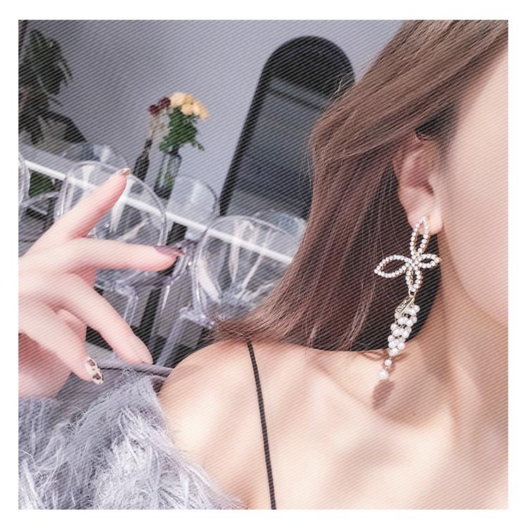 奈迪奥欧美时尚夸张镶满钻蝴蝶耳环女韩国不对称珍珠长款流苏耳坠