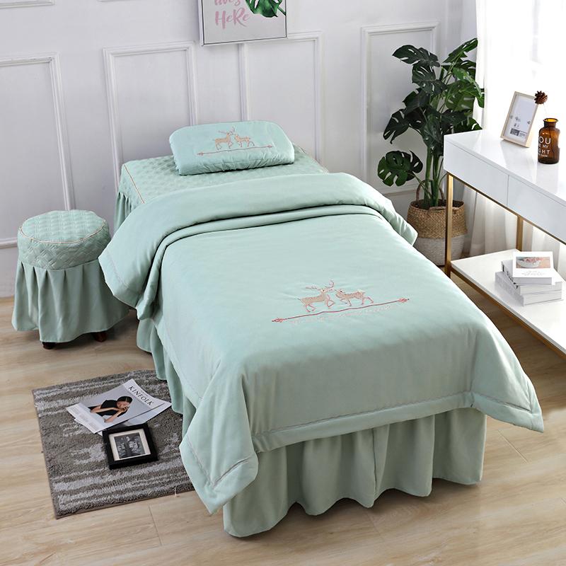 Đơn giản làm đẹp trải giường bốn mảnh thẩm mỹ viện massage đặc biệt massage massage vật lý trị liệu giường cao cấp phong cách Bắc Âu - Trang bị tấm