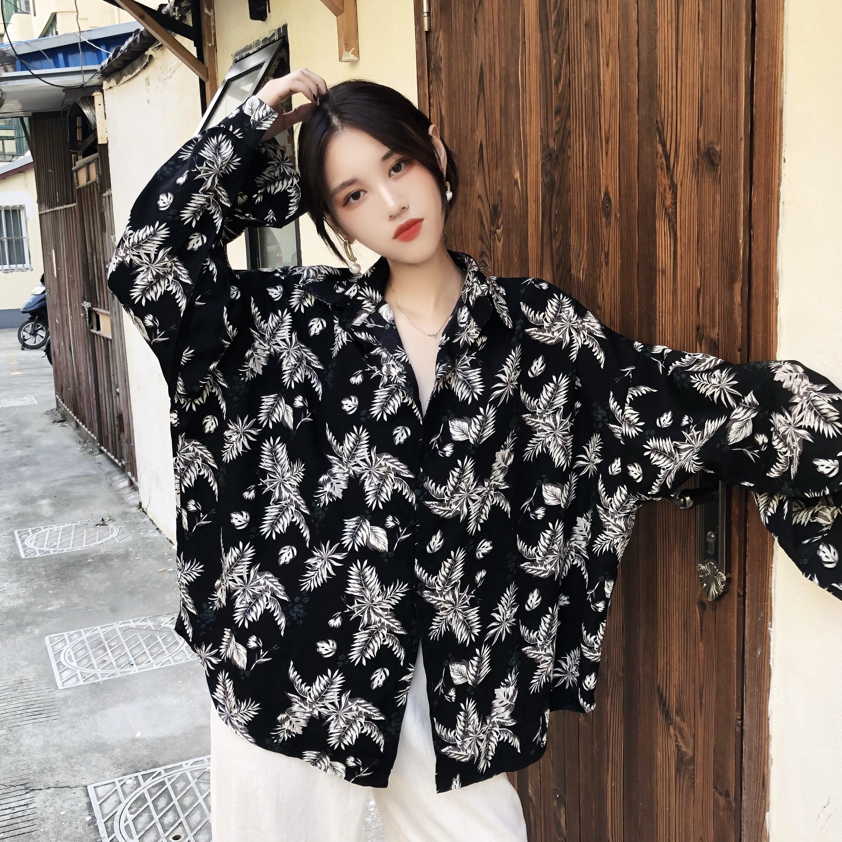 季韩版chic大码女装胖MM复古树叶印花衬衫外套长袖防晒衬衣开衫