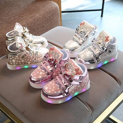 1-2岁3宝宝带灯4发光鞋5亮片高帮6儿童休闲鞋子7女童8运动鞋9秋季