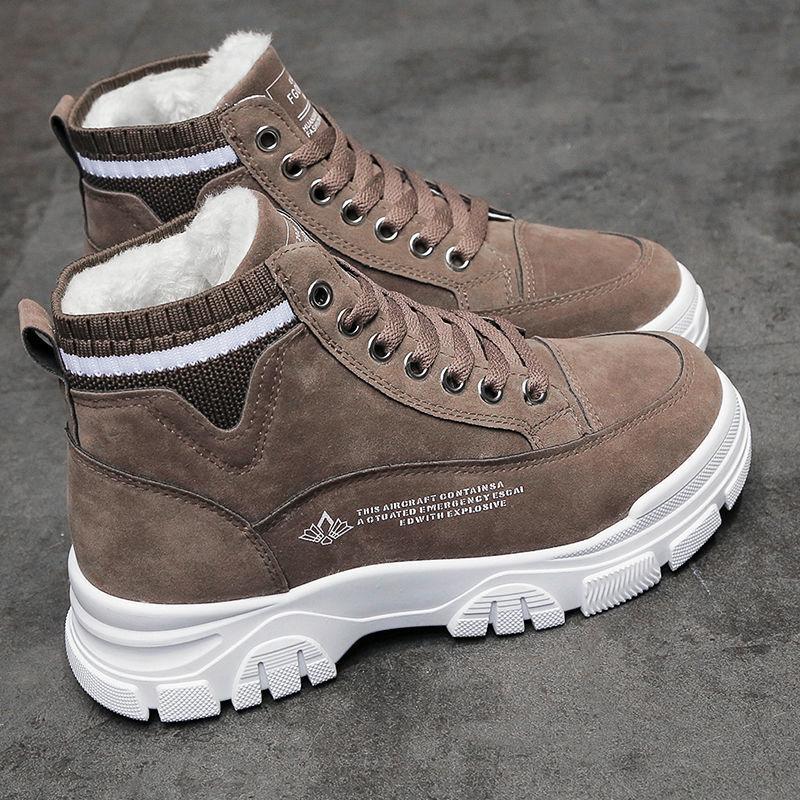 冬季女鞋加绒加厚保暖棉鞋平跟厚底2020新款韩版百搭学�生高帮鞋女