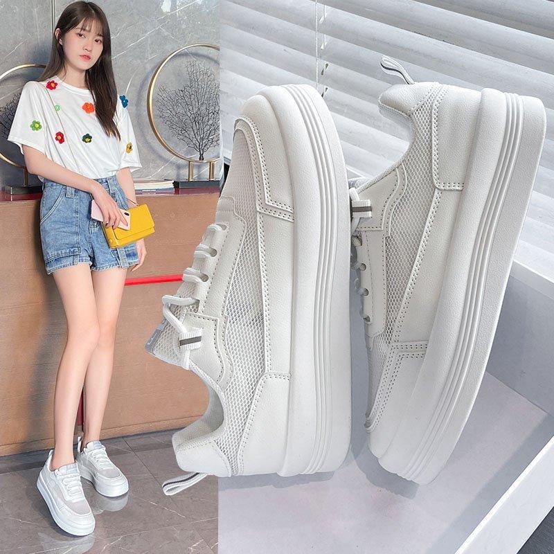 丑萌老爹女鞋夏款小白鞋女夏2021新款百搭鞋子薄款透气板鞋大头鞋