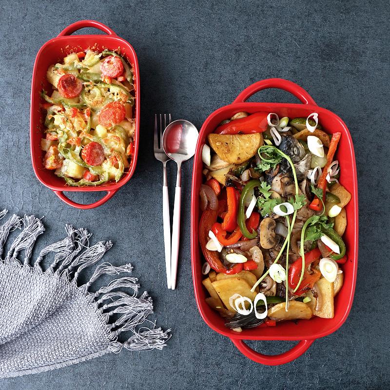 tinyhome简约家用双耳陶瓷盘子烤箱烤盘芝士焗饭盘烘焙烤碗牛排盘
