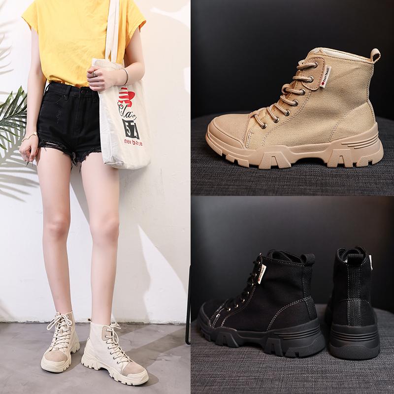 戈念秋款高邦学生鞋帅气百搭帆布靴6.cm沙漠增高靴英伦风短靴