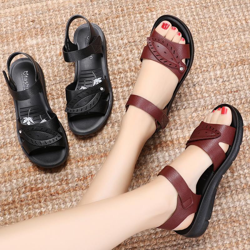 2019新款凉鞋凉鞋女夏平底中老年人防滑妈妈孕妇舒适软底奶奶凉鞋