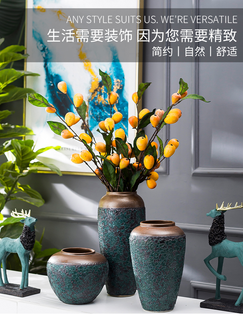 Jingdezhen ceramic decoration of the new Chinese style porch sitting room TV ark, flower arranging zen table dry flower vases, furnishing articles