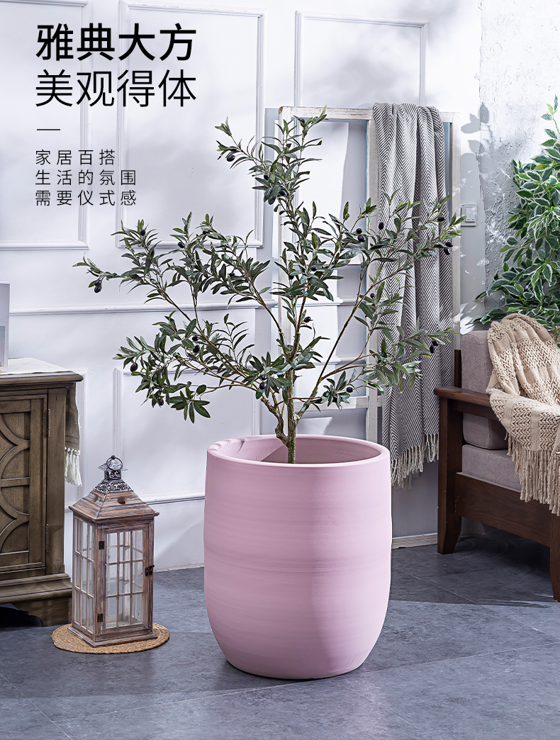 I and contracted Nordic large - diameter pink ceramic flower pot flower arranging hotel green plant large indoor living room vase furnishing articles