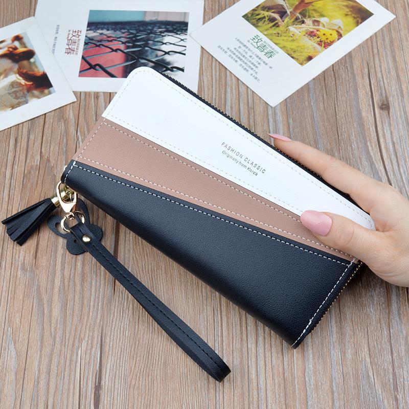 Mới túi xách nữ ví cầm tay nữ dài phần phiên bản Hàn Quốc màu tương phản khâu dây kéo tua rua dung lượng lớn ví điện thoại di động - Ví / chủ thẻ