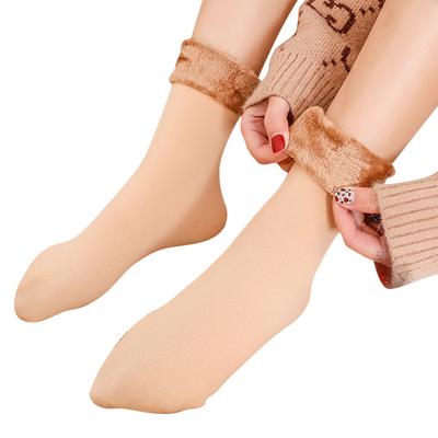 秋冬季加绒加厚中筒长袜女5双