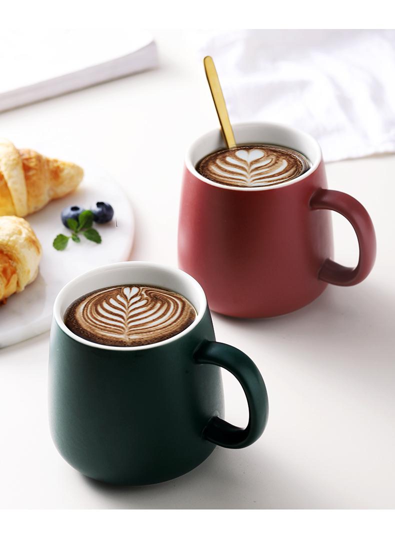 北欧马克杯创意个性日式简约带盖子勺咖啡家用陶瓷潮流喝水杯子详细照片