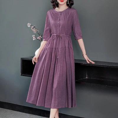 高端亚麻苎麻棉麻夏2021新款女收腰显瘦薄款大码中长裙子连衣裙C