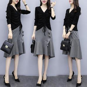单件/套装大码女装质时尚显瘦连衣裙两件套