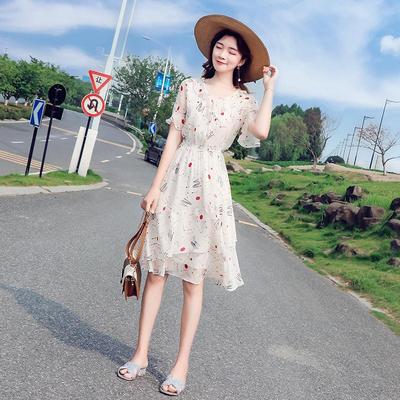 碎花雪纺连衣裙女2021新款夏韩版中长款收腰显瘦喇叭袖小清新裙子