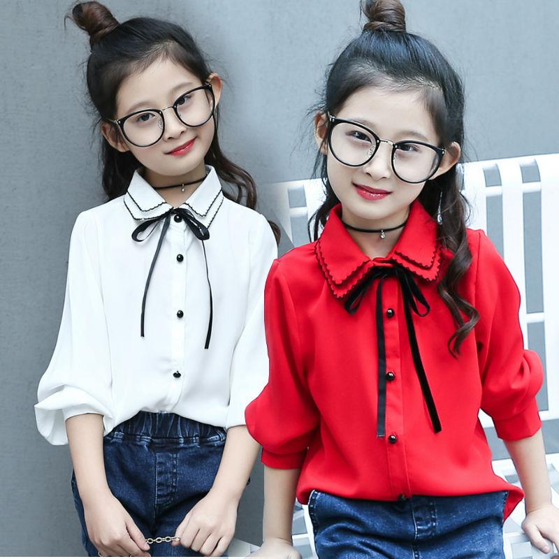 Quần áo trẻ em 2019 cho bé gái mùa xuân và mùa thu mới áo dài tay cotton trắng áo sơ mi trẻ em trong áo phông trẻ em phong cách phương tây lớn - Áo sơ mi