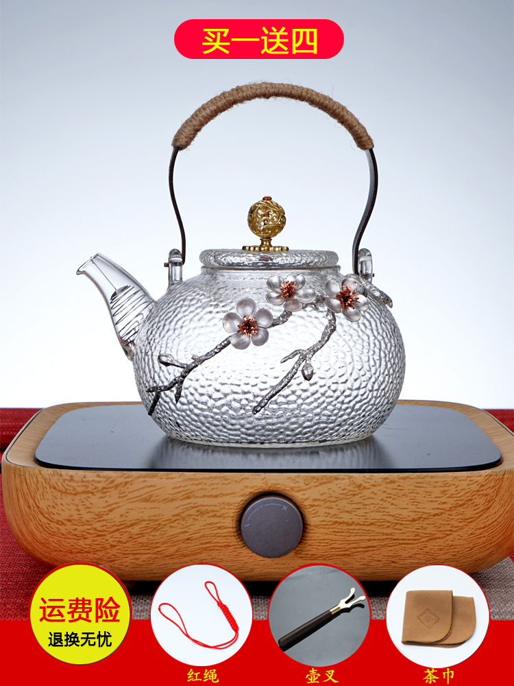 High temperature-resistant glass teapot thickened Japanese hammer-printed teapot black crystal furnace special kettle copper to lift the kettle