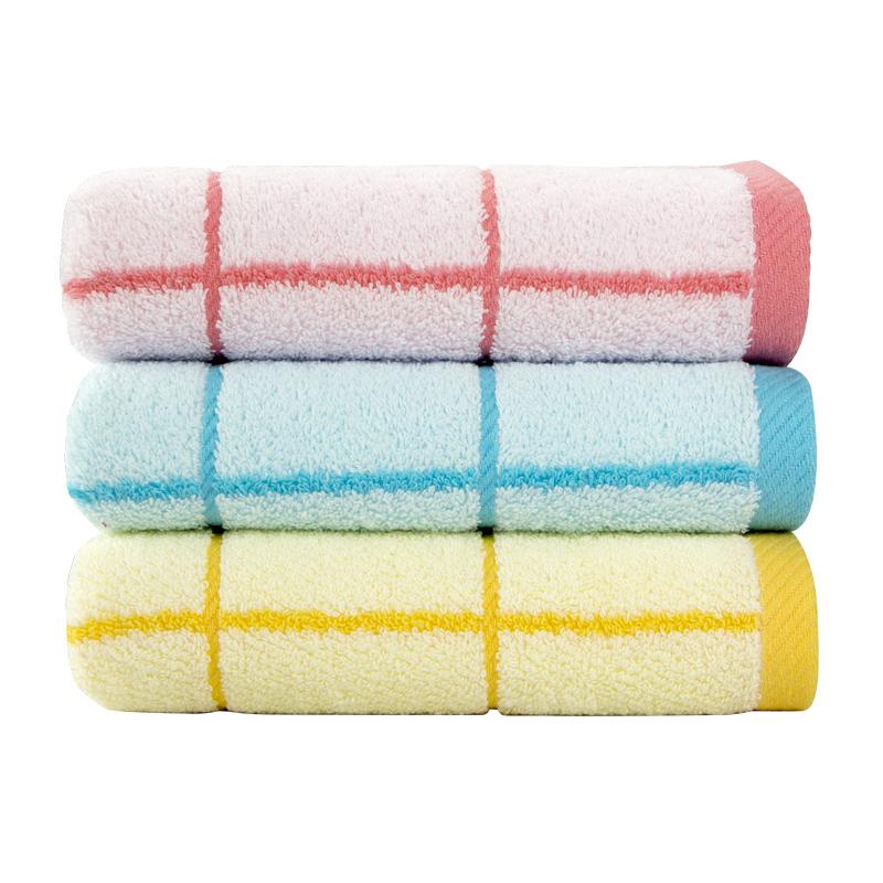 三条装 金号纯棉毛巾夏季薄款洗脸成人格子纹家用吸水不■掉毛A类
