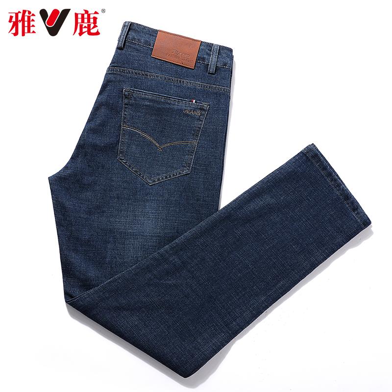 清倉特價,彈力棉面料:雅鹿 男士 春夏薄款直筒牛仔褲