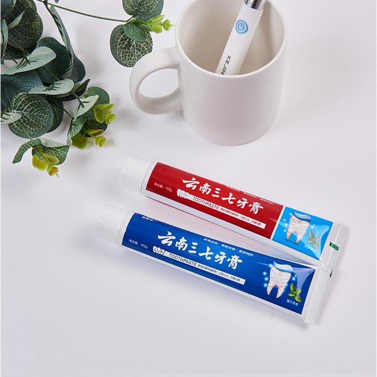 云南三七植物牙膏清新薄荷105g两只去牙渍去口臭口气清新家用正品