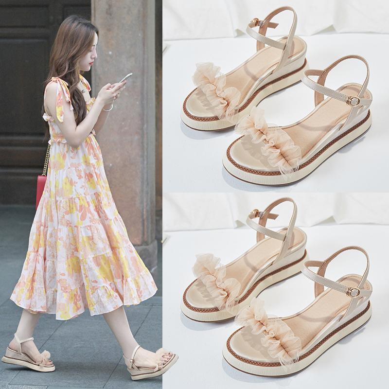 坡跟凉鞋女夏2019新款配裙子的粗跟厚底松糕百搭ins潮仙女风高跟