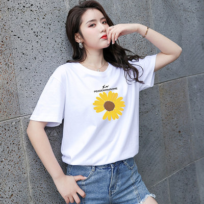 T-shirt female short sleeves 2021 new cotton bottoming shirt summer loose casual half-sleeved large size student upper tide