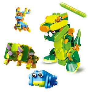 布鲁可大颗粒积木跑跑变变变儿童拼插积木恐龙布鲁克遥控玩具男孩