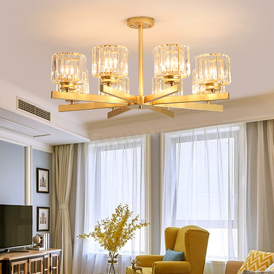 Living room chandelier light luxury Luxury high-grade crystal lamp personality atmospheric modern gold branch northern chandelier
