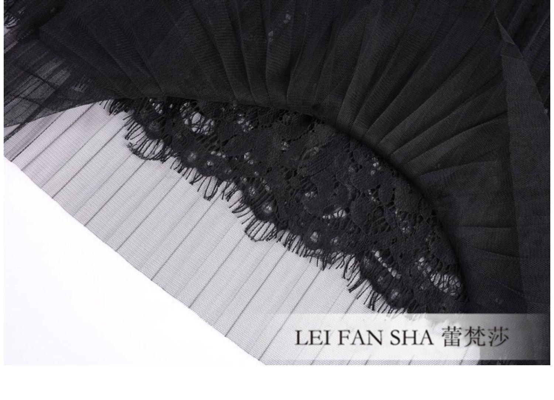 纱裙女半身裙春夏中长款百褶裙超仙黑色蕾丝网纱长裙秋冬仙女裙子
