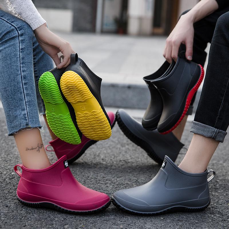 夏季雨鞋女短筒雨靴保暖加绒防水鞋男水靴低帮防滑厨房买菜钓鱼鞋