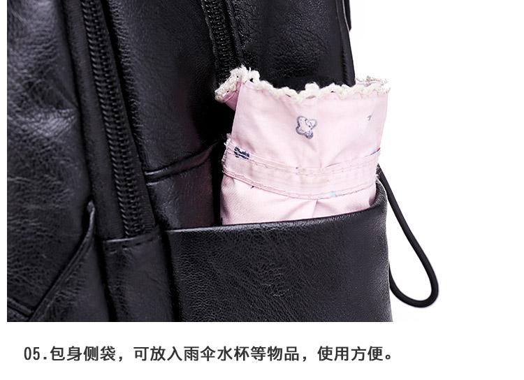 双肩包女新款潮牌韩版时尚百搭女士休閒软皮揹包旅行书包详细照片