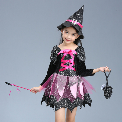 Halloween children's clothing Cosplay girl lovely The Smurfs witch cloak costume costumes