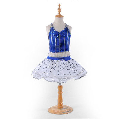 Girls jazz dance puff dresses for kids school modern dance competition yellow royal blue paillette stage performance dresses