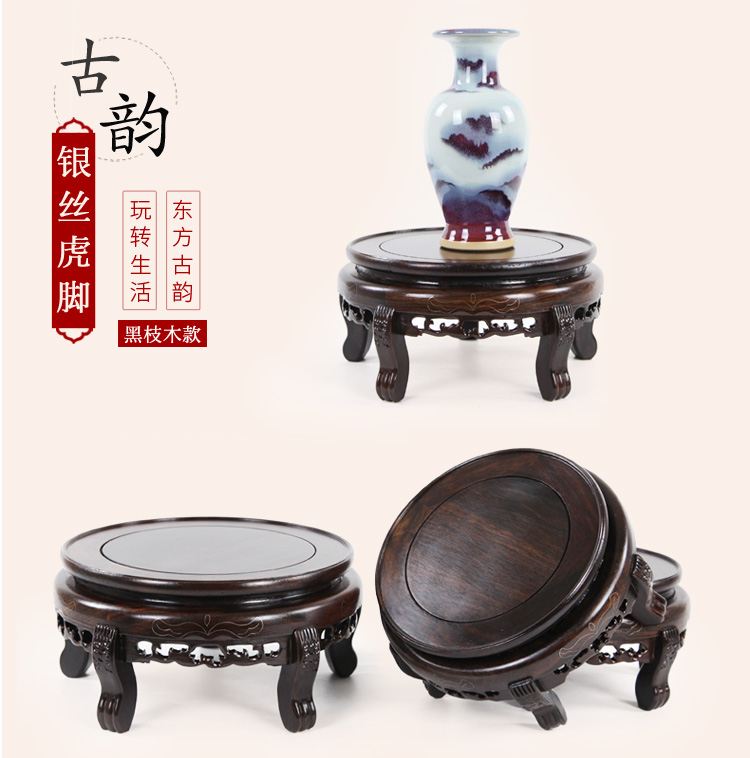 Annatto flower what fish tank base flowerpot furnishing articles stone stone base of Buddha round flower wearing short flower shelf