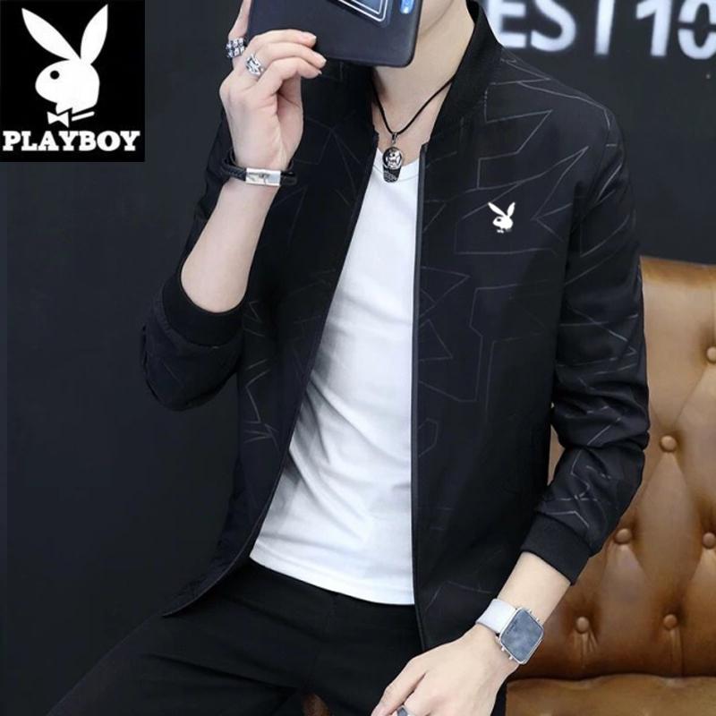 Áo khoác nam trẻ trung Playboy xuân 2020 mới in phong cách Hàn Quốc quần áo hợp thời trang áo khoác mỏng nam - Áo khoác đôi
