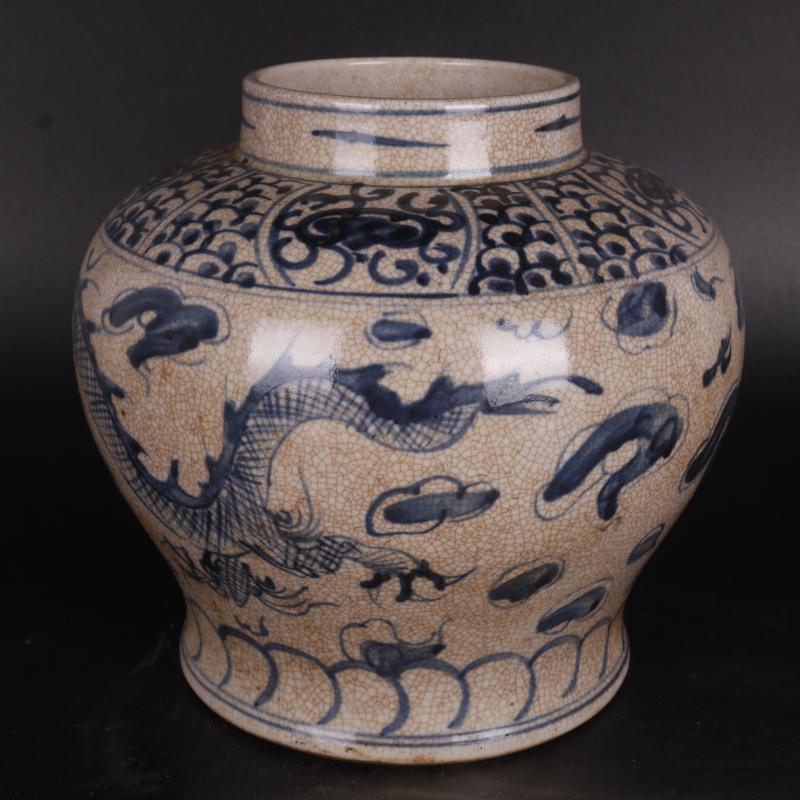 明青花云龙纹罐坛手绘仿古工艺品瓷器家居中式摆件古董古玩收藏