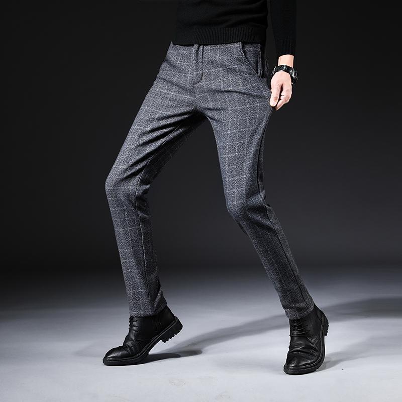 男士加绒休闲裤绅士牛仔裤长裤格子裤
