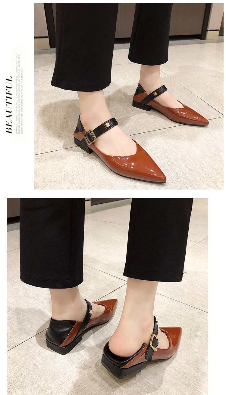 Autumn single-shoe women's 2020 new low-heeled flat-soled shoes women's one-word buckle with shallow-mouthed pointed women's shoes lacquered leather shoes 45 Online shopping Bangladesh