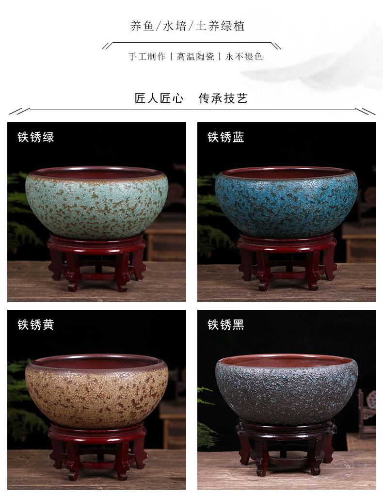 Jingdezhen ceramic aquarium desktop furnishing articles geomancy fortune restoring ancient ways goldfish bowl lotus lotus basin large tortoise