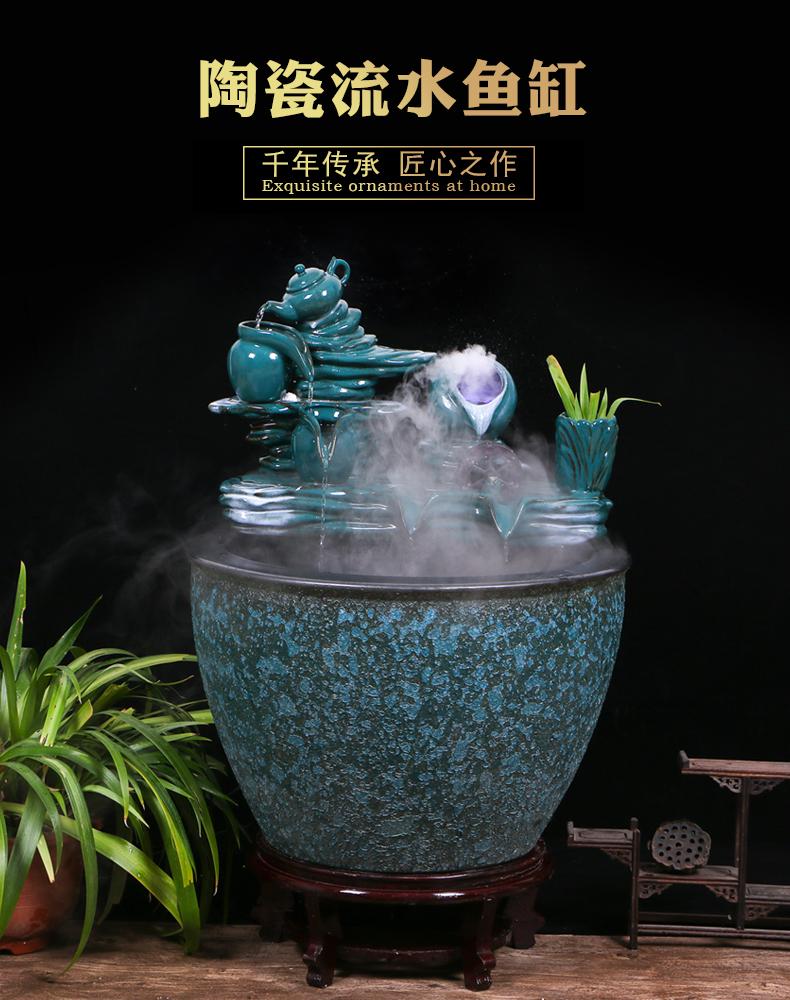 Large ceramic aquarium circulating water tank sitting room balcony ground household lotus goldfish bowl