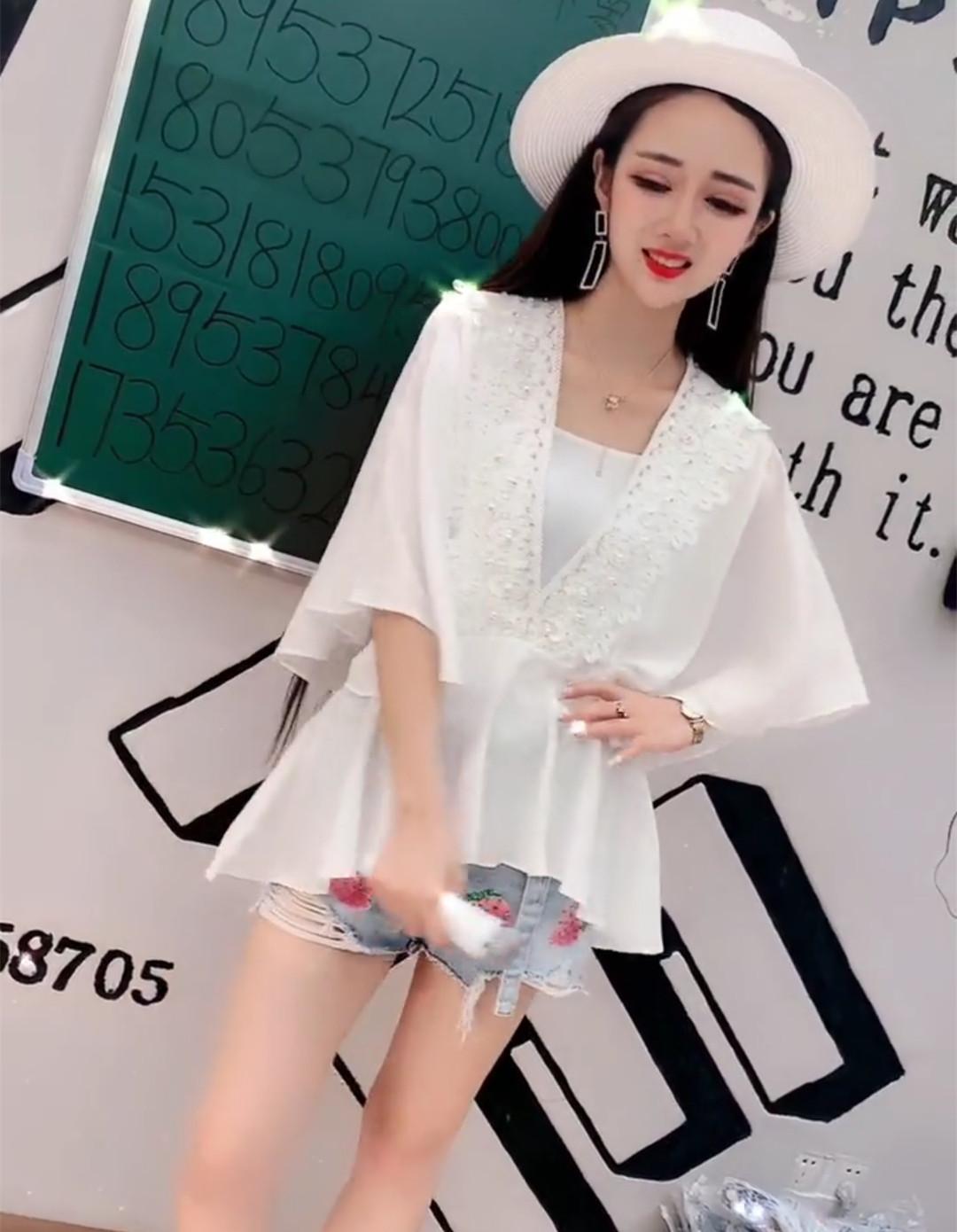 2019夏季新款花边雪纺背心袖上衣衫钉珠时尚送蝙蝠