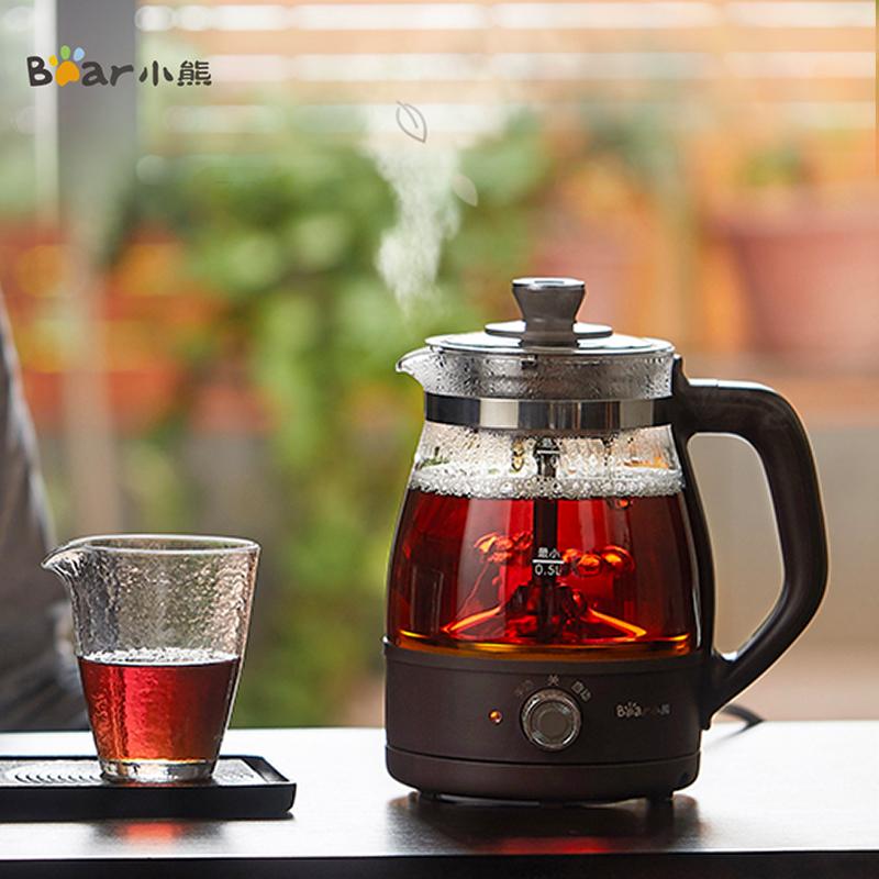 小熊煮茶器家用全自动蒸汽煮茶壶黑茶蒸茶器小型办公室玻璃花茶壶-实得惠省钱快报