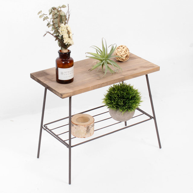 Iron wood rectangular table Stands Creative simple home decoration simple combination of flower gardening balcony