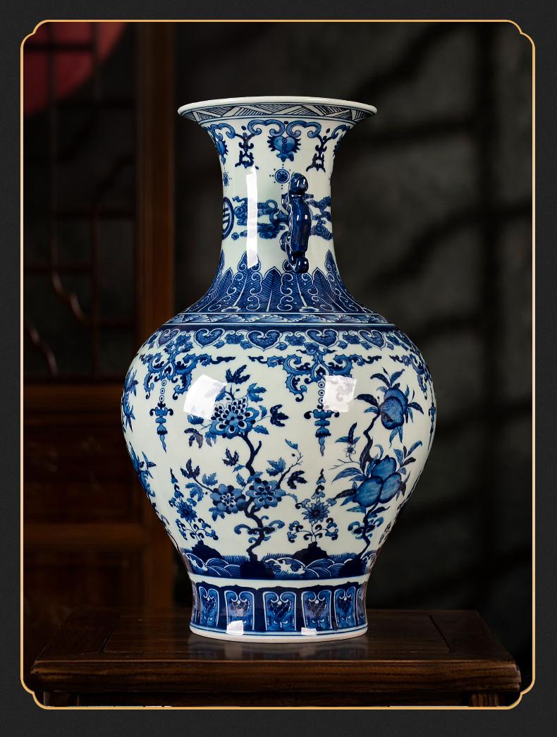 景德镇花瓶插花仿古青花陶瓷器客厅装饰摆件家居电视柜饰品大号