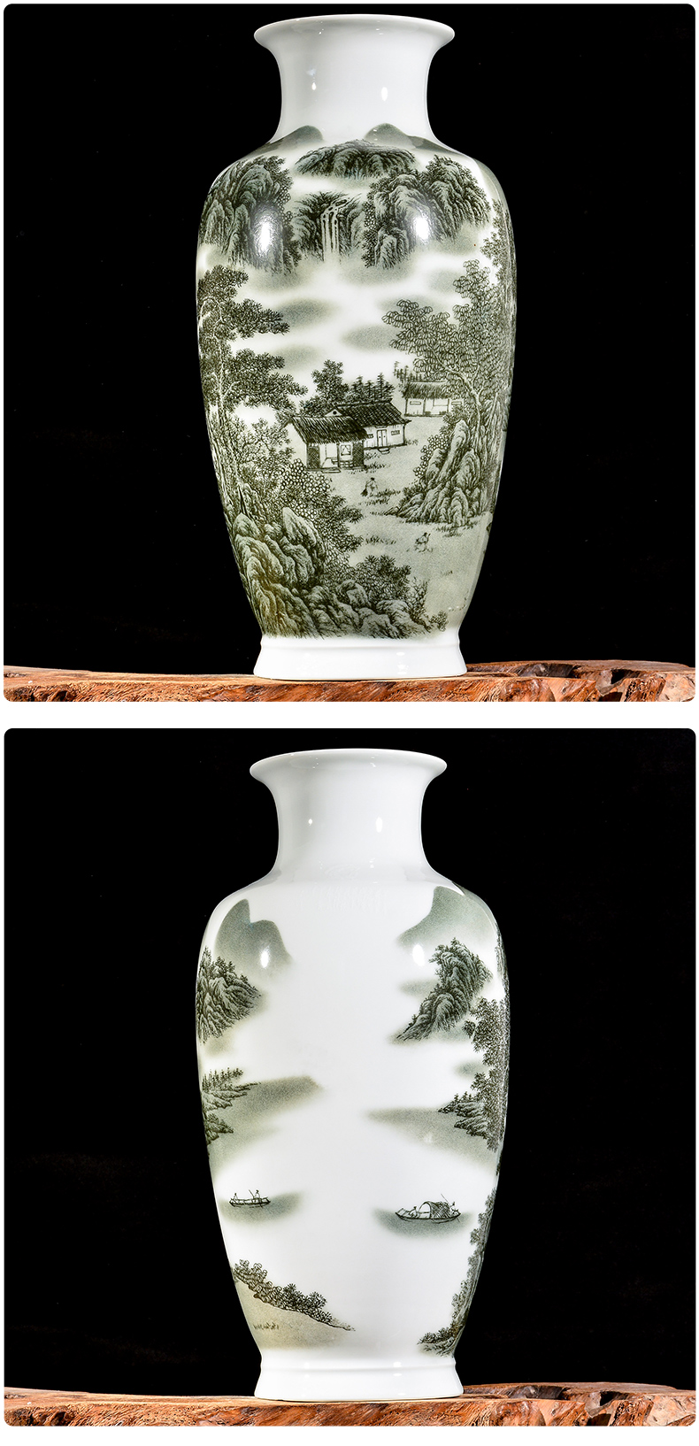 Jingdezhen ceramic vases, flower arranging large landscape new sitting room of Chinese style household furnishing articles rich ancient frame decorative arts and crafts