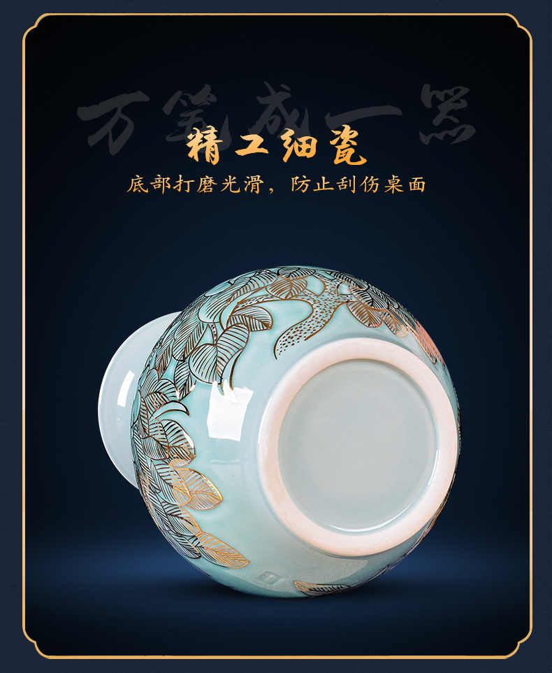 Jingdezhen ceramics green glaze vase peony hand - made paint new Chinese style living room TV cabinet decoration gifts furnishing articles