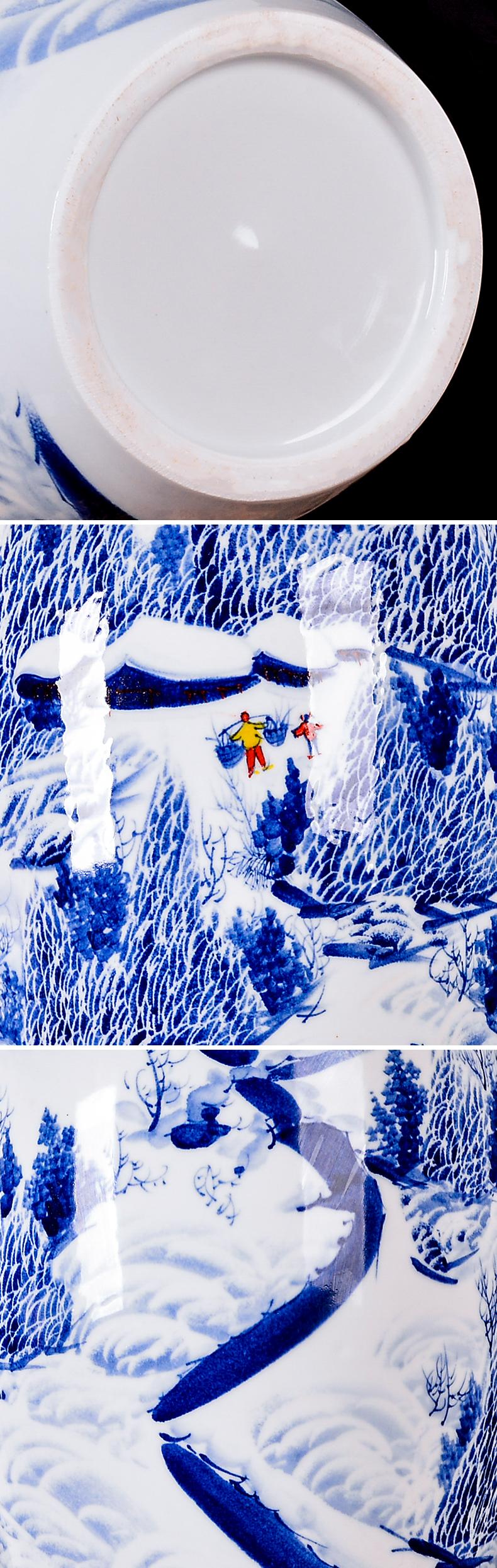 景德镇陶瓷雪景花瓶手绘插花家居新中式客厅电视柜摆件装饰工艺品