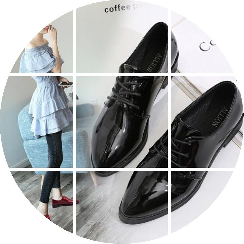 尖头中跟单鞋漆皮鞋系带酒红牛津单单鞋女鞋亮皮鞋子单鞋深口鞋