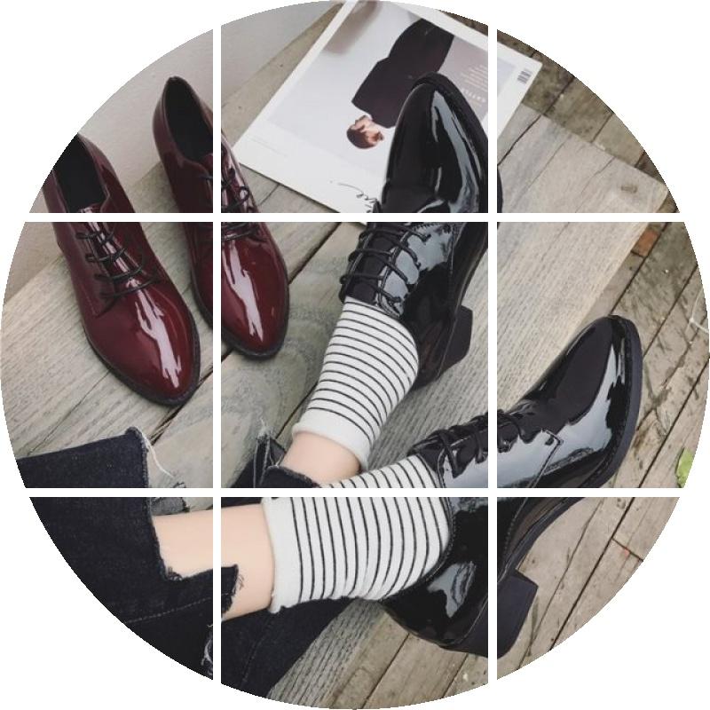 尖头中跟漆皮系带鞋单鞋酒红牛津单单鞋鞋子亮皮女鞋单鞋深口鞋