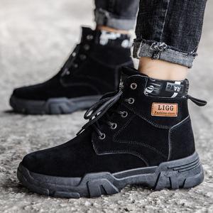 B 男士2020春秋季新款男马丁靴工装靴战狼高帮男鞋英伦复古手男靴