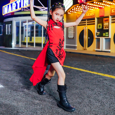 Hip Hop Dance Costumes for girls Jazz Dance Dress Chinese style Jazz Dance Dress Girl national fashion show stage fashion fashion children national fashion model T-stage cheongsam